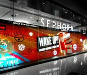 Sephora windows by Sign Works in Dubai Mall